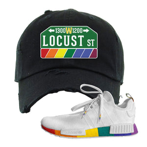 NMD R1 Pride Distressed Dad Hat | Black, Locust Street Sign