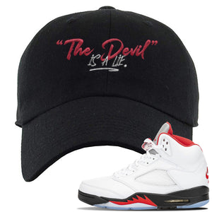 Air Jordan 5 OG Fire Red Dad Hat | Black, Devil Is A Lie