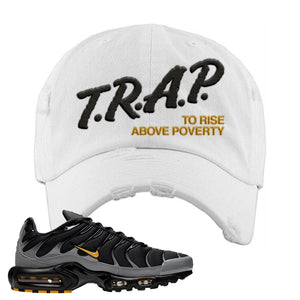 Nike Air Max Plus Batman Distressed Dad Hat | Trap To Rise Above Poverty, White