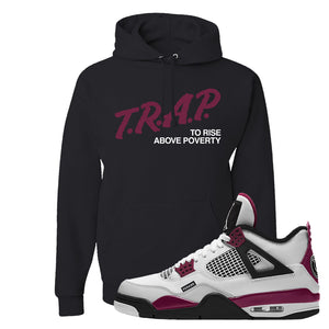 Air Jordan 4 PSG Paname Pullover Hoodie | Trap To Rise Above Poverty, Black