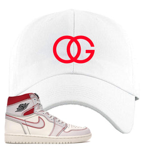 White and red hat that matches the High Retro Jordan 1 shoe