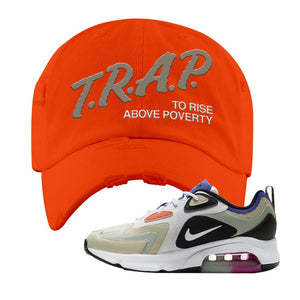 Air Max 200 WMNS Fossil Sneaker Orange Distressed Dad Hat | Hat to match Nike Air Max 200 WMNS Fossil Shoes | Trap To Rise Above Poverty
