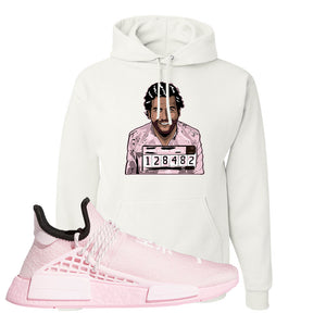 NMD Hu Tonal Pink Hoodie | Escobar Illustration, White