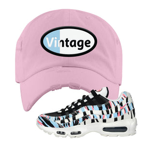 Air Max 95 Korea Tiger Stripe Distressed Dad Hat | Light Pink, Vintage Oval