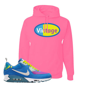 Undefeated x Air Max 90 Pacific Blue Sneaker Neon Pink Pullover Hoodie | Hoodie to match Undefeated x Nike Air Max 90 Pacific Blue Shoes | Vintage Oval