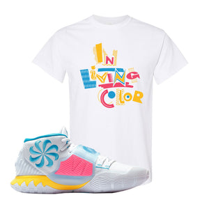 Kyrie 6 Blue Fury T Shirt | White, In Living Color