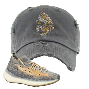 Yeezy Boost 380 Mist Sneaker Olive Distressed Dad Hat | Hat to match Adidas Yeezy Boost 380 Mist Shoes | Indian Chief