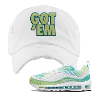 WMNS Air Max 98 Bubble Pack Sneaker White Distressed Dad Hat | Hat to match Nike WMNS Air Max 98 Bubble Pack Shoes | Got Em