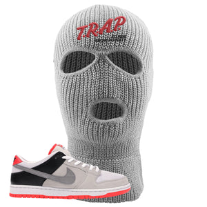 Nike SB Dunk Low Infrared Orange Label Trap To Rise Above Poverty Light Gray Ski Mask To Match Sneakers