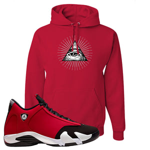 Air Jordan 14 Gym Red Hoodie | Red, All Seeing Eye
