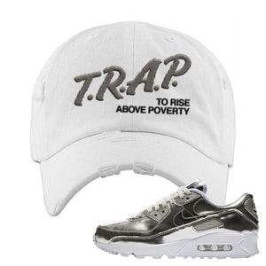 Air Max 90 WMNS 'Medal Pack' Chrome Sneaker White Distressed Hat | Hat to match Nike Air Max 90 WMNS 'Medal Pack' Chrome Shoes | Trap to Rise Above