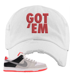 Nike SB Dunk Low Infrared Orange Label Got Em White Distressed Dad Hat To Match Sneakers