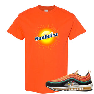 Printed on the front of the Air Max 97 Sunburst Safety Orang Sneaker Matching Tee Shirt is the Sunburst Soda logo