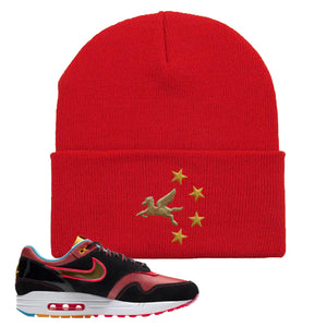 Air Max 1 NYC Chinatown Pegasus With Chinese Stars Red Beanie To Match Sneakers