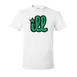 ILL Logo T-Shirt | ILL Logo White T-Shirt the front of this shirt has the green and black ill design on the front