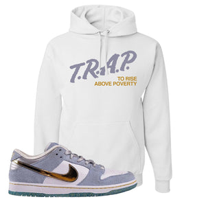 Sean Cliver x SB Dunk Low Hoodie | Trap To Rise Above Poverty, White