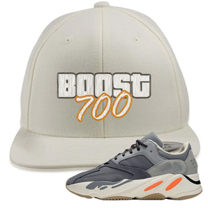 Yeezy Boost 700 Magnet Sneaker Matching GTA Cover Lettering White Snapback Hat