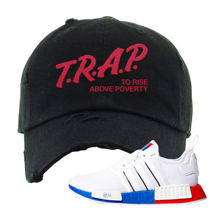 NMD R1 Seoul Distressed Dad Hat | Black, Trap To Rise Above Poverty