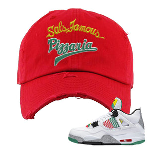 Jordan 4 WMNS Carnival Sneaker Red Distressed Dad Hat | Hat to match Do The Right Thing 4s | Sal's Famous Pizzeria