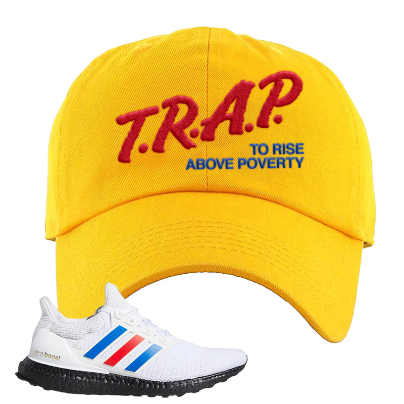 Ultra Boost White Red Blue Dad Hat | Gold, Trap To Rise Above Poverty