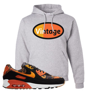 Air Max 90 Orange Camo Hoodie | Vintage Oval, Ash