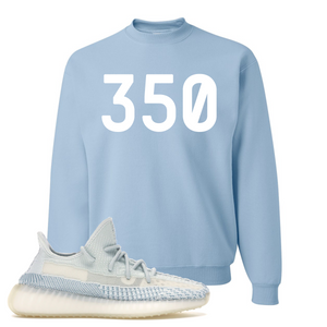 Yeezy Boost 350 V2 Cloud White Non-Reflective 350 Sneaker Matching Light Blue Crewneck Sweatshirt