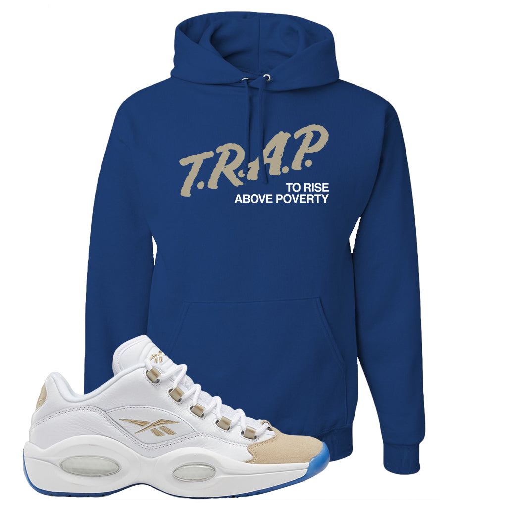 Reebok Question Low Oatmeal Hoodie Royal Blue Trap To Rise Above Po Cap Swag