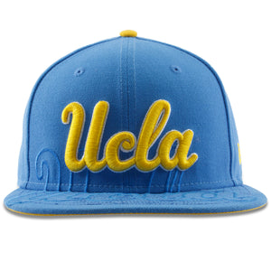 the UCLA spillover light blue snapback hat has the UCLA script embroidered in the front in yellow