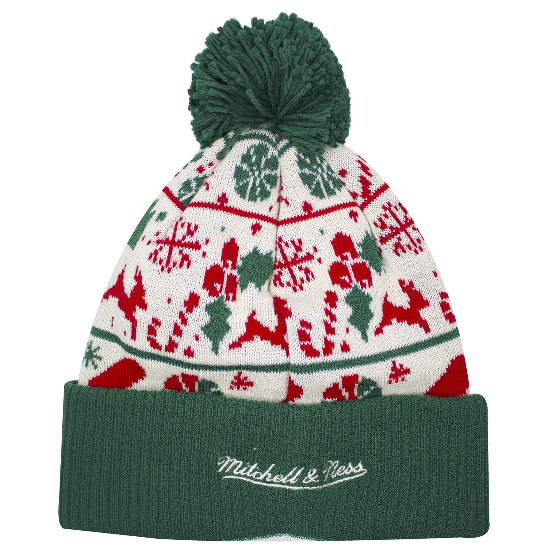 a146a0b7dfc ... on the back of the Ugly Christmas Sweater Philadelphia 76ers winter  beanie is the Mitchell and