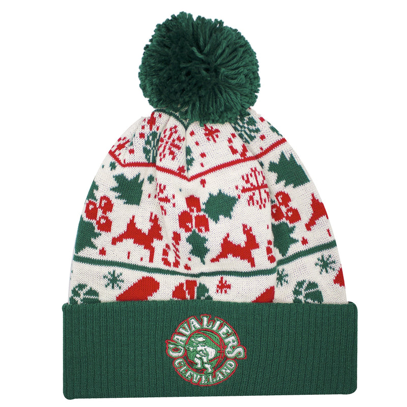 on the front of the cleveland cavaliers ugly christmas sweater winter beanie is a cleveland cavaliers logo embroidered in tan, red, and green