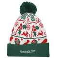 on the back of the cleveland cavaliers ugly christmas sweater beanie is the mitchell and ness logo embroidered in tan