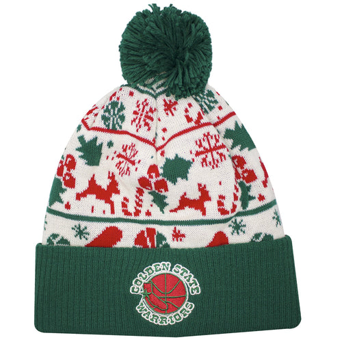 on the front of the golden state warriors ugly christmas sweater winter beanie is the golden state warriors logo embroidered in red, green, and tan