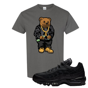 Air Max 95 Essential Black/Dark Grey/Black Sneaker Charcoal Grey T Shirt | Tees to match Nike Air Max 95 Essential Black/Dark Grey/Black Shoes | Sweater Bear