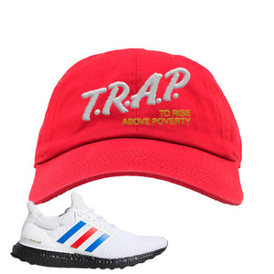 Ultra Boost White Red Blue Dad Hat | Red, Trap To Rise Above Poverty