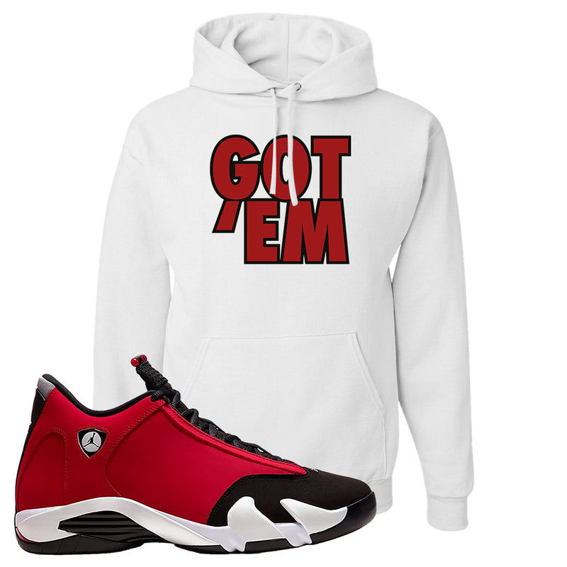 Air Jordan 14 Gym Red Hoodie | White, Got Em