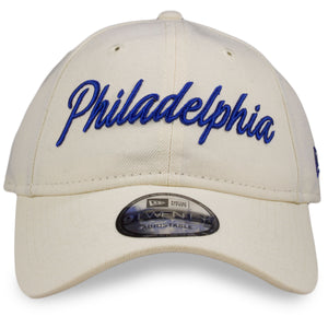 front of Philadelphia 76ers  Dad hat | Vintage white Sixers dad hat | New era 920 Retro Script 76ers hat