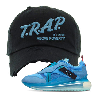 Air Max 720 OBJ Slip Light Blue Distressed Dad Hat | Black, Trap To Rise Above Poverty