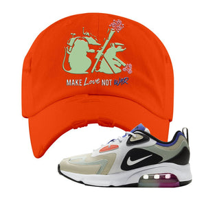 Air Max 200 WMNS Fossil Sneaker Orange Distressed Dad Hat | Hat to match Nike Air Max 200 WMNS Fossil Shoes | Army Rats