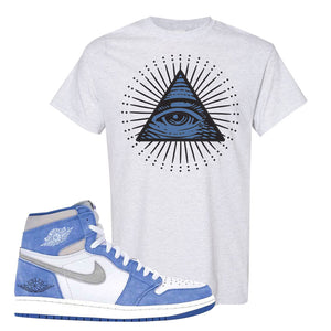 Air Jordan 1 High Hyper Royal T-Shirt | All Seeing Eye, Ash