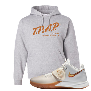 Kyrie Flytrap 3 Summit White Hoodie | Trap To Rise Above Poverty, Ash