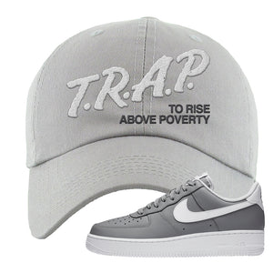 Air Force 1 Low Wolf Grey White Dad Hat | Light Gray, Trap To Rise Above Poverty