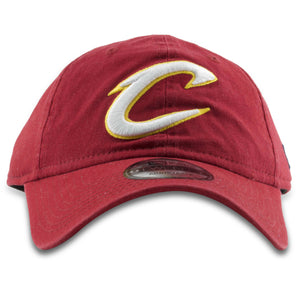 Embroidered on the front of the Cleveland Cavaliers maroon adjustable dad hat is the Cavs logo in white and gold