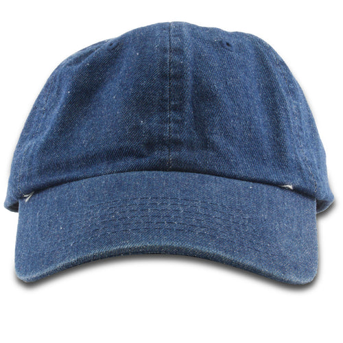 The blank dark denim dad hat is solid denim with a soft unstructured crown and a bent brim