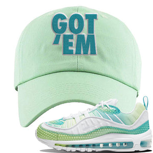 WMNS Air Max 98 Bubble Pack Sneaker Sage Green Dad Hat | Hat to match Nike WMNS Air Max 98 Bubble Pack Shoes | Got Em