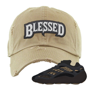 Yeezy 700 v3 Eremial Distressed Dad Hat | Blessed Arch, Khaki