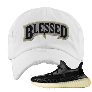 Yeezy Boost 350 v2 Carbon Distressed Dad Hat | Blessed Arch, White