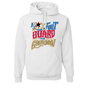 Six Foot Guard From Georgetown Pullover Hoodie | Allen Iverson White Hooded Sweatshirt the front of this pullover hoodie has the six foot guard design