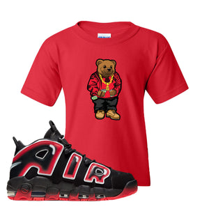 Air More Uptempo Laser Crimson Biggie Bear Red Sneaker Hook Up Kid's T-Shirt
