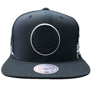 Embroidered on the front of the black Golden State Warriors Mitchell and Ness snapback hat is the Golden State Warriors logo in solid black with a white outline around the logo