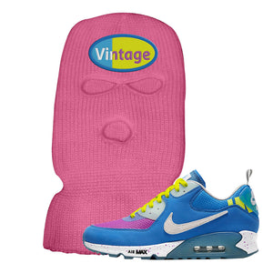 Undefeated x Air Max 90 Pacific Blue Sneaker Neon Pink Ski Mask | Winter Mask to match Undefeated x Nike Air Max 90 Pacific Blue Shoes | Vintage Oval
